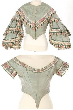 Welcome to Centre de Documentació i Museu Tèxtil [unknown province] silk bodices for day and evening, circa 1855-1858. Bust 102 cm; waist 72 cm.