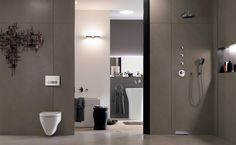 This Mid-Century Modern Master Bathroom displays sleek designs with an open shower, in-wall Geberit toilet system and neutral walls. Bathroom Tile Designs, Bathroom Trends, Bathroom Inspiration, 30 Bathroom Vanity, Spa Inspired Bathroom, Bathroom Mirror, Tile Bathroom, Wall Systems, Bathroom Design Inspiration