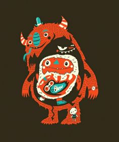 We think this would look great on a tee: hungry monsters