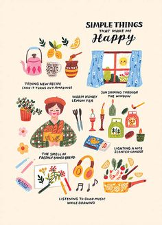 Annelies (anneliesdraws) photos and videos Simple things that make me happy drawing and illustration. Make Me Happy, Happy Life, Self Care Activities, Illustration Mode, Simple Illustration, Art Illustrations, Simple Art, Love Art, Inspire Me