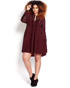 Gorgeous plus size shirt dress featuring lovely details like see-through crochet panels and a mandarin collar. Cut brings out the waist giving the wearer a beautiful silhouette. Love & Legend, 39-42 inch length.