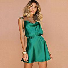 <img> Green Spaghetti V-Neck Strap Satin Short String Waist Dress Source by neomasanativa - Green Satin Dress, Satin Mini Dress, Satin Dresses, Sexy Dresses, Short Dresses, Mini Dresses, Satin Short Dress, Short Green Dress, Bandage Dresses