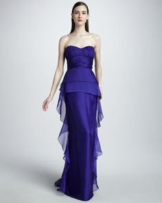 Strapless Peplum Gown by Badgley Mischka Collection at Neiman Marcus.