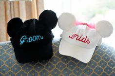 Perfect for the reception or the honeymoon, we love these adorable Mickey and Minnie wedding baseball caps