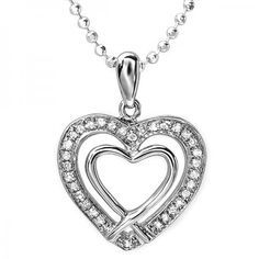 Share and get $20 off your order of $100 or more. 0.20 Carat (ctw) Sterling Silver White Diamond Ladies Double Heart Pendant 1/5 CT - Dazzling Rock #https://www.pinterest.com/dazzlingrock/