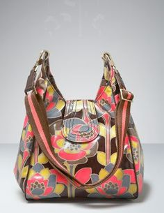oil cloth slouchy bag in brown flower #boden