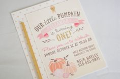 Our Little Pumpkin Birthday Invitation First by PrintsForEvents