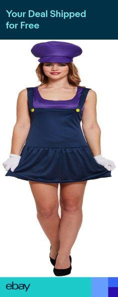 1ab94d6c971 Ladies Mario Waluigi Plumber 80s Cartoon Hen do Fancy Dress Costume Outfit  8-12