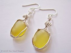 Genuine Pale Yellow English Seaglass Earrings Made by Sun Sand Seaglass www.facebook.com/sunsandseaglass www.etsy.com/shop/sunsandseaglass