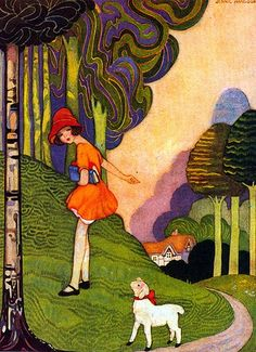 Art Deco illustration by Jennie Harbour 'Mary Had a Little Lamb' Art Deco Illustration, Book Illustrations, Vintage Children's Books, Vintage Art, Vintage Nursery, Vintage Kids, Vintage Magazines, Halloween Vintage, Design Art Nouveau