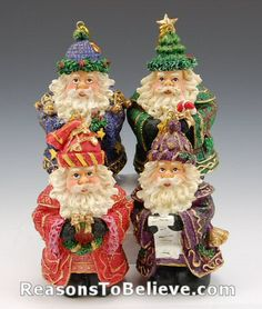 Santa ornaments - Set of Rich looking polystone Santas wearing bold colored, fabric textured coats accented with gold embroidery and braid, bells and buttons. One Santa holds a list, one a stocki Green Santa, Santa Ornaments, Gold Embroidery, My Favorite Color, Candy Cane, Vintage Christmas, Braid, Separate, Hand Carved