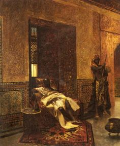 """Guarding the Chieftain""  by French artist Jean-Joseph Benjamin-Constant (1845-1902)"
