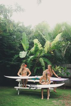 Tropical vibes with the girl gang || Coco Ho Quincy Davis Maud Le Car || Photo by Rebecca Amber || #VolcomWomens #TrueToThis #girlgang