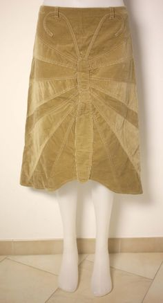 DOLCE & GABBANA LADIES BEIGE CORDUROY BUTTERFLY SKIRT-UK 8-USED-EXCELLENT-CHIC #DolceGabbana #Casual
