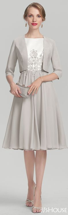 Sheath/Column Sweetheart Knee-Length Chiffon Mother of the Bride Dress With Beading Sequins#JJsHouse #Mother dresses