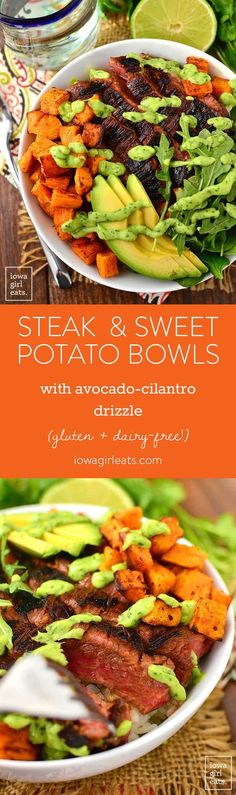 Meat and potatoes just got an upgrade! Steak and Sweet Potato Bowls with Avocado-Cilantro Drizzle are healthy, filling, and gluten-free and dairy-free, too! | iowagirleats.com