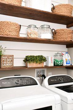 Laundry Room Shiplap and DIY Wood Shelves - Easy Tutorial