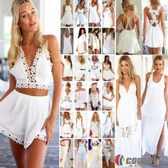 Sexy Womens 34types White Style Celeb Playsuit Jumpsuit Ladies Mini Dress Shorts #Unbranded #Playsuit