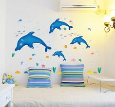 ufengke® Mondo Mare Delfini Carino e Piccoli Pesci Adesivi Murali, Camera dei Bambini Vivai Adesivi da Parete Removibili/Stickers Murali/Decorazione Murale