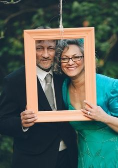 handmade frames for the trees.  Peach and Turquoise Wedding {Real Bride} | Confetti Daydreams