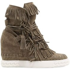 Casadei Women 80mm Fringed Suede Wedge Boots ($485) ❤ liked on Polyvore featuring shoes, boots, khaki, fringe boots, suede wedge boots, suede platform boots, lace up wedge boots and wedge boots