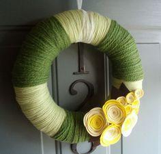 Yarn Wreath Handmade Front Door Spring/Summer - Sunshine 12in