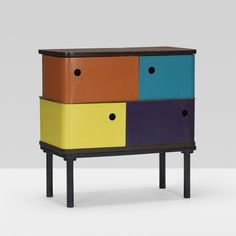 Henry Glass; Lacquered Masonite and Birch 'Swingline' Cabinet for Fleetwood, 1952.