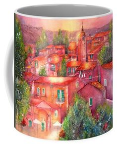Village Roussillon Provence France Coffee Mug featuring the painting Roussillon Provence France by Sabina Von Arx Your Paintings, Watercolor Paintings, Mugs For Sale, Creative Colour, Provence France, Unique Coffee Mugs, Painting Techniques, Colorful Backgrounds, Fine Art America