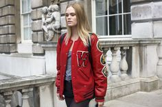 Varsity jacket, London Somerset House. I'd wear it!