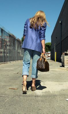 f835a70764c1 purple blazer+vintage levis+louis vuitton speedy+nude cut out heels