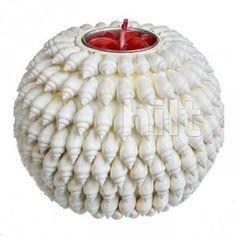 Подсвечник шар Белая ракушка, 10 см