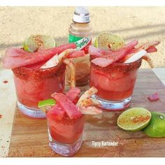 Sandia fria ( frozen watermelon 1oz watermelon vodka  1oz watermelon pucker  Frozen Watermelon chunks  Lime juice  Tajin (fruit chilie powder ) Blend all together Garnish with cucumber watermelon and  jicama