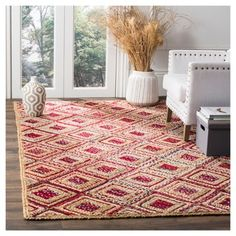 Bailey Area Rug - Natural / Red (6' X 9') - Safavieh