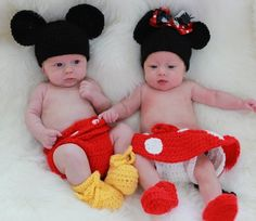 Minnie and Mickey Mouse outfits: hat, diaper cover, skirt, booties, and sandals..