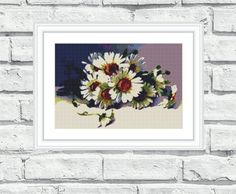 """Modern, elegant, vibrant and cheerful still life/flower pattern of """"Daisies"""". These patterns look especially attractive when viewed from a distance and so easy to stitch! Perfect for any room in your home including living rooms, kids rooms and bedrooms. 6.99$"""
