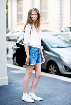 Denim shorts and a white shirt makes for an easy and comfortable summer ensemble. // #OutfitIdeas