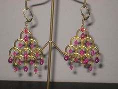 goldtone pink bell and crystal chandelier earrings hand made #Chandelier