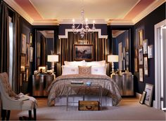 Very elegant and traditional. Love the mirrors above bedside tables.