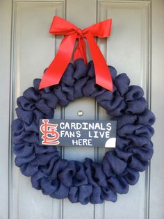 STL Cardinals fans burlap bubble wreath!