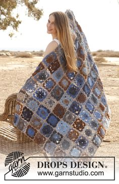 """Crochet DROPS blanket with squares in """"Big Delight"""". ~ DROPS Design"""