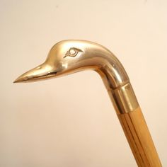 Wooden Walking Stick Vintage Wood Solid Brass Duck by UKAmobile