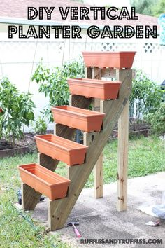 DIY Vertical Planter Garden. Something I would do differently, or add to it, is support under each planter. I worry the weight of the dirt, water, and plants will eventually concave the planters. Adding one more piece of wood (obviously cut into proper lengths) wouldn't cost that much more for a little more security.