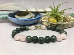 Beautiful Green Line Jasper & Rose Quartz Healing Mala Bracelet with S – Earth Wood & Bone