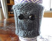 Grey Hand Knitted Owl Coffee Cozy