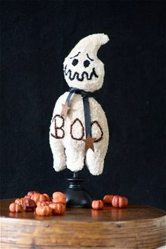 """Punch Needle Ghost """"BOO"""" Whimsie"""