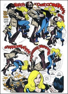 Black Canary Battles. Action Comics #418-419 splash page by Alex Toth.