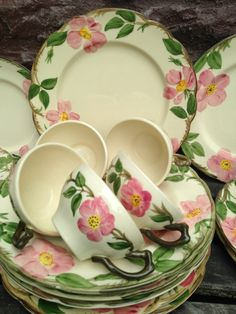 Franciscan Desert Rose Dinnerware Set 56 Pc. USA 1940's / Serice for 8 / MINT / Vintage China, Plates, Bowls, Cups and Saucers by ThePinkVintageRose on Etsy NEW LISTING!