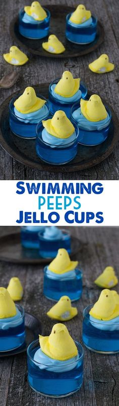 Swimming Peeps Jello Cups - a cute and easy Easter recipe that uses peeps!
