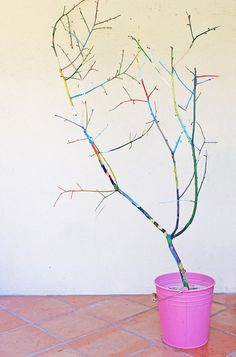 Turn fallen branches into a Rainbow Tree. Art Project from  BABBLE DABBLE DO