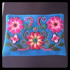BABY ALPACA 100% HANDMADE Cosmetic bag Colorful and UNIQUE. It can be used also as a small clutch.   All the flowers are HANDMADE ...  Best BABY ALPACA QUALITY Bags Clutches & Wristlets